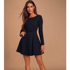 Misguided Black Jersey Knit Swing Dress Sz 10